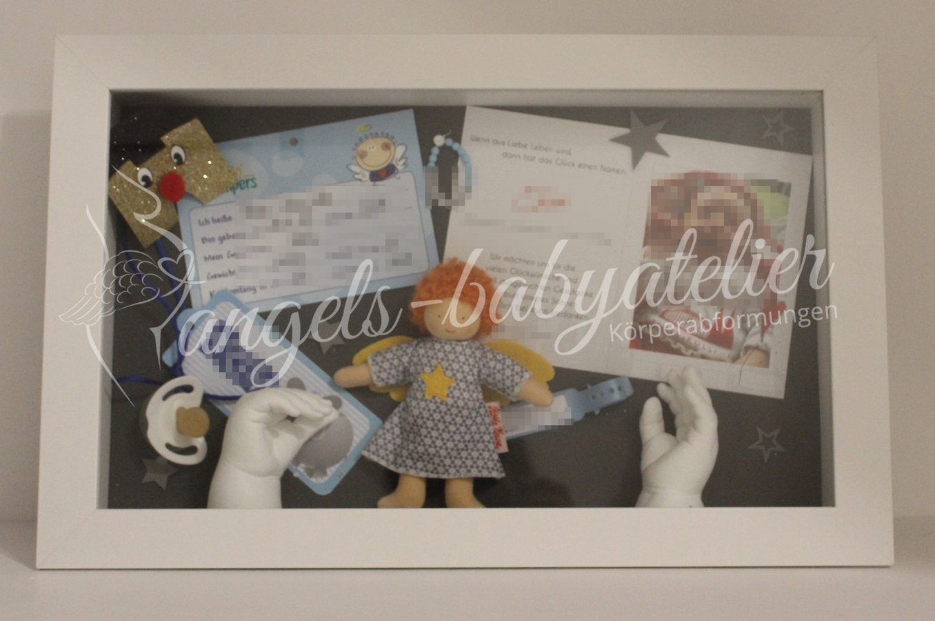 3D Babyhand und Fußabdruckset Erinnerungsrahmen
