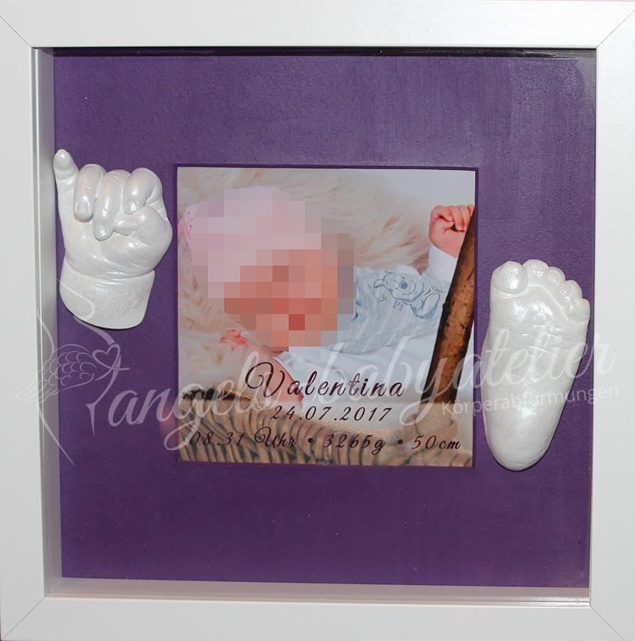 3D Baby Hand und _Fussabdruck im Bilderrahmen