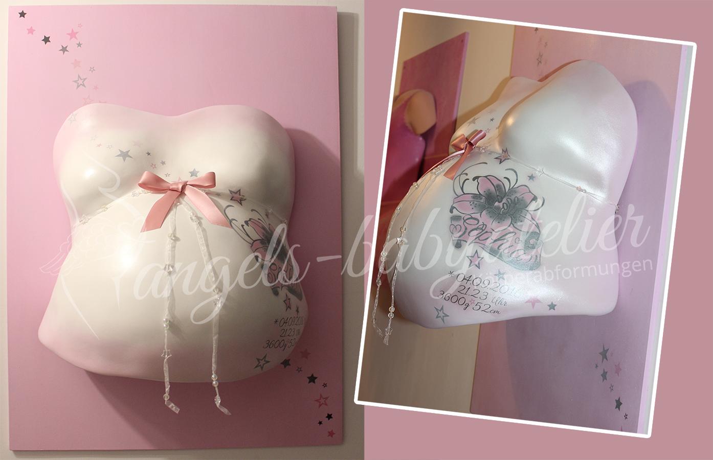 Babygipsbauchabdruck in rosa