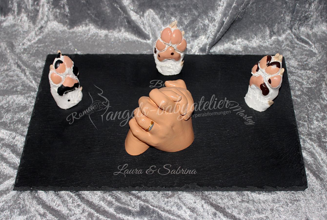 3 D Hundepfoten Dalmatiner mit Geschwisterhand