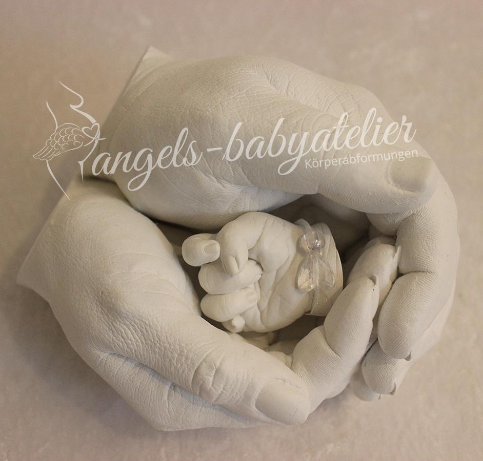 3D Partnerhandabdruck mit Babyhand