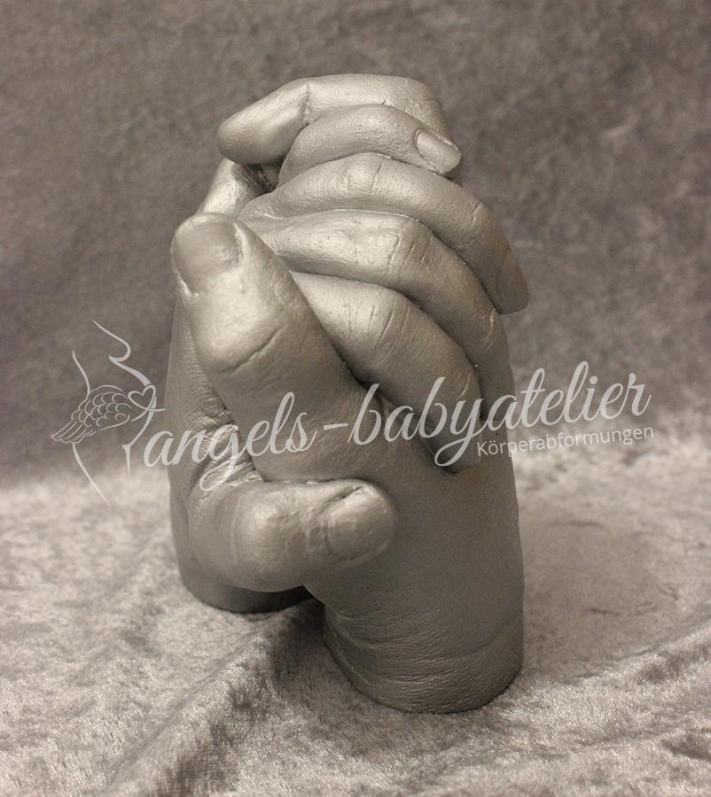 3D Handabdruck Vater-Tochter in silber