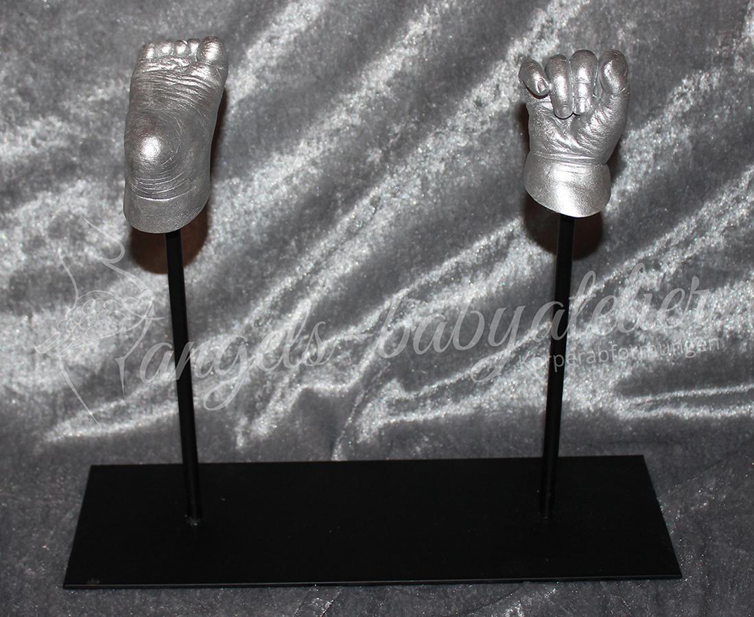 3d Babyhand- und Fußabdruck silber