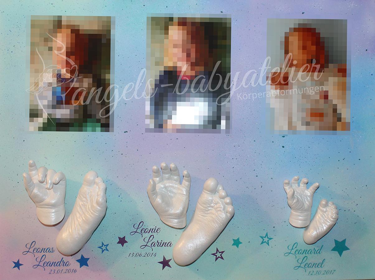 Geschwister 3 D Hand- und Fußabdrücke